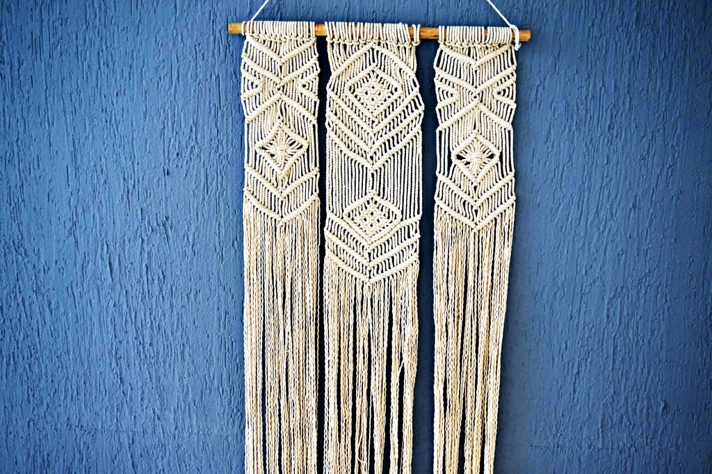 Handknitted Macrame Wall Hanging made by rural women artisans in a village near Meerut