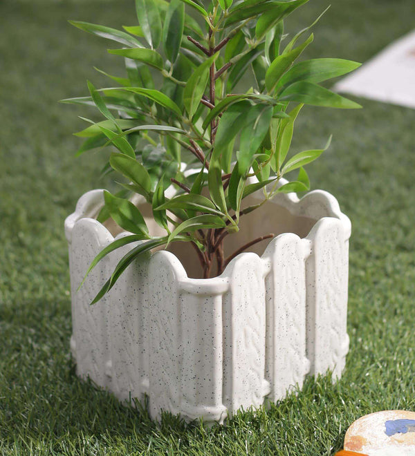 White Ceramic Square Fence Shaped Planter Pot