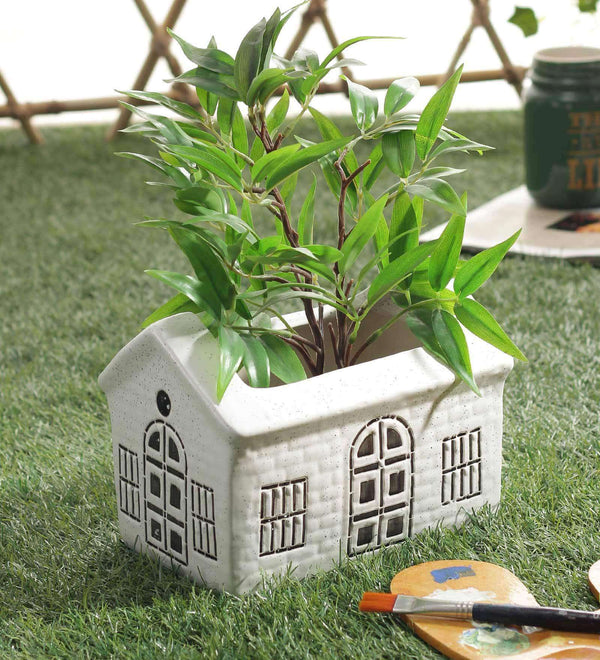 White Ceramic Handcrafted Hut Planter Pot