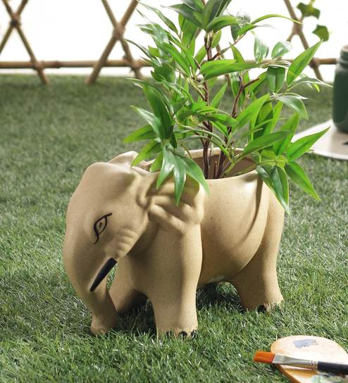 Ceramic Beige Big Elephant Planter