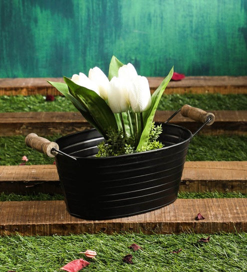 Black Metal Tub Planter Pot