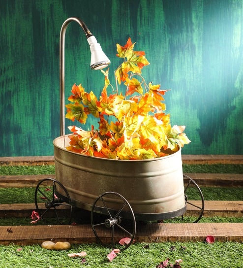 Rustic Green  Metal Trolley Planter with dummy shower
