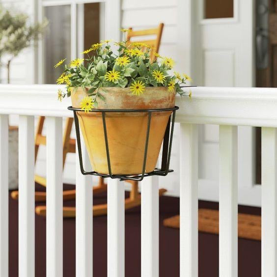 Black Single Pot Railing Planter Stand