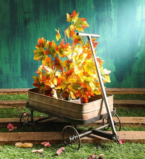 Rustic Green Metal Cart Trolley Planter