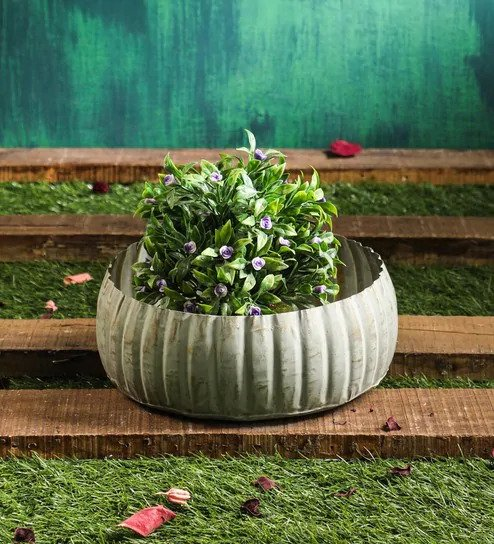 Green Round Urli Metal Planter