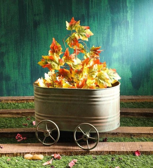 Rustic Green Metal Tub Trolley Planter Big
