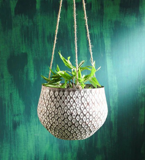 White Rustic Metal Hanging Planter Big