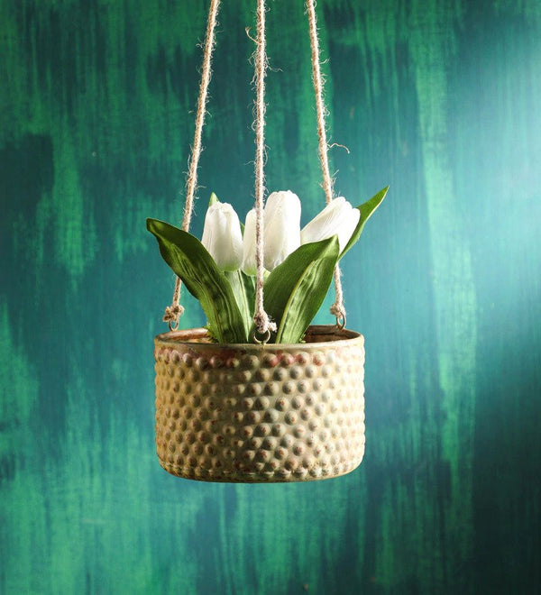 Green Rustic Hanging Metaal Planter small