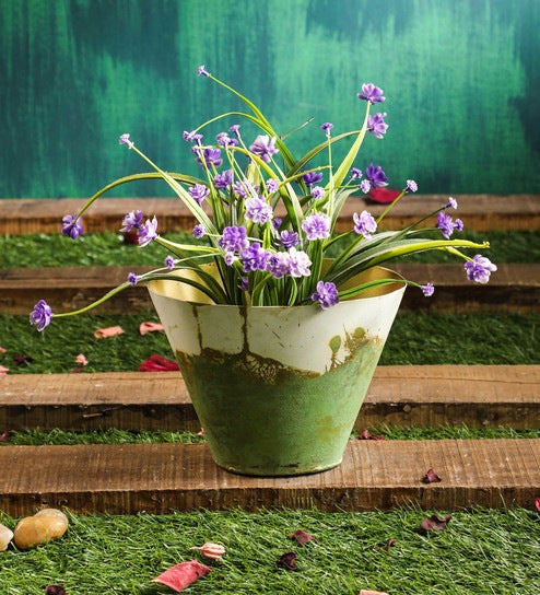 Green Rustic Metal Vase Planter Medium