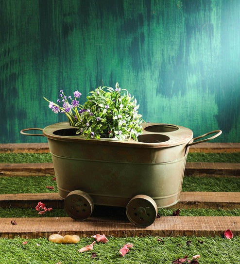Rustic Green  Metal Trolley Planter with 6 holes