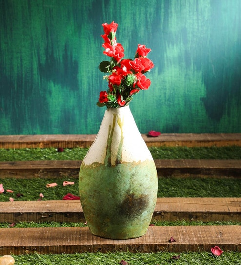Green Rustic Metal Vase Planter
