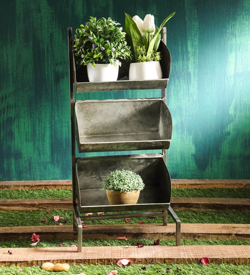 Rustic Grey Tripple Storey Metal Planter Stand