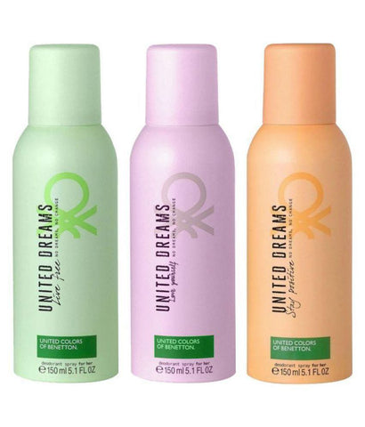 United Colors Of Benetton Stay Positive, Live Free And Love Yourself Pack Of 3 Deodorants