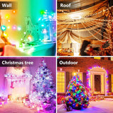 32.8FT Dreamcolor LED Fairy Lights 16 Colors Changing String Lights with Remote Control 8 Modes Twinkle Lights Music Sync 4 Modes Dimming & Timer Rope Light for Bedroom Outdoor Christmas Party Decor