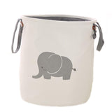 Amposei Collapsible Laundry Basket , Dirty Cloth Drawstring Storage Bin Toy Collection Organizer with Two Handles for Nursery Kid's Room - Elephant
