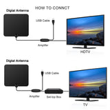 Amposei 80 Miles Range TV Antenna, Indoor USB Powered Supply Digital HDTV TV Antenna with Built-in Amplifier Signal Booster and 13.1Ft Coax Cable - Black