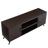 Mid Century Modern Wood TV Stand Media Console with Adjustable Shelves Barn Doors for TVs Up to 65""