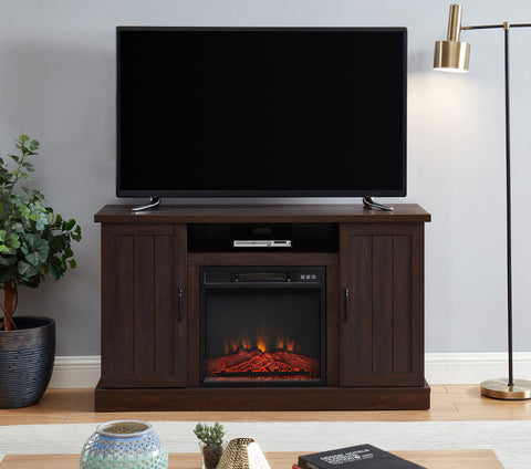 Home Wood Electric Fireplace TV Stand Console Entertainment Center for TVs up to a 55""