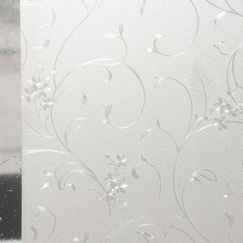 Amposei Self Adhesive Static Cling Elegant Flower Glass Window Film