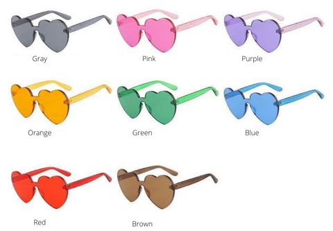 Different Colors of heart shaped sunglasses