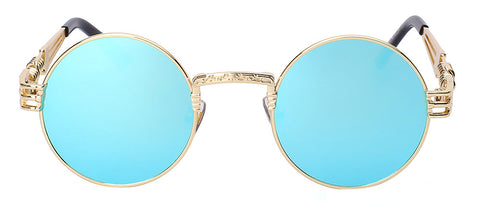 gold frame and blue lens sunglasses