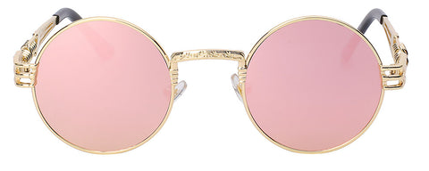 gold frame pink mirror lens sunglasses