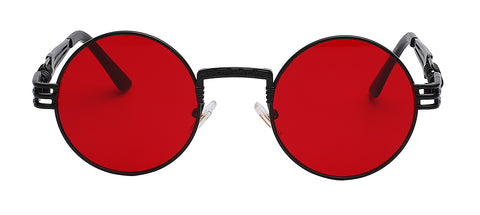 black frame with clear red lens