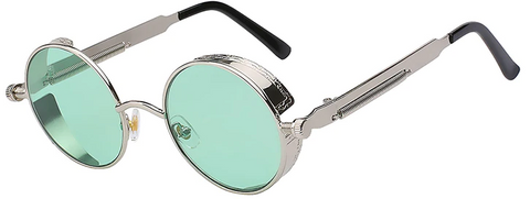 round sunglasses with green lens