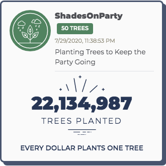 First 50 Trees Donated by ShadesOnParty
