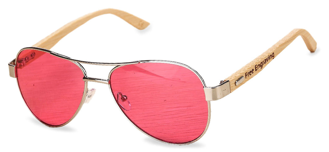 Personalized Wooden Aviator Sunglasses
