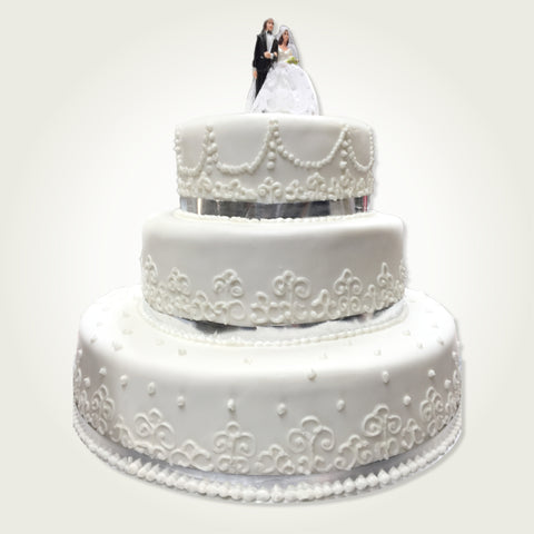 3 Tier Stacked Wedding Cake_fondant