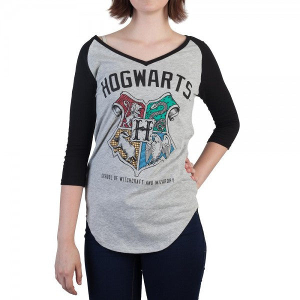 Harry Potter™ Officially Licensed  Hogwarts Crest V-Neck Raglan