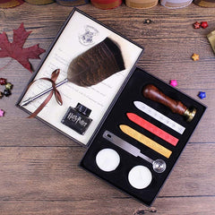 FEATHER PEN & SEAL WAX KIT