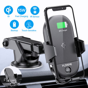 Wireless Car Charger Mount [Qi Certified]FLOVEME Fast Car Wireless Charger 15W Auto Clamping Hand Free Car Dashboard/Air Vent Phone Holder - FLOVEME