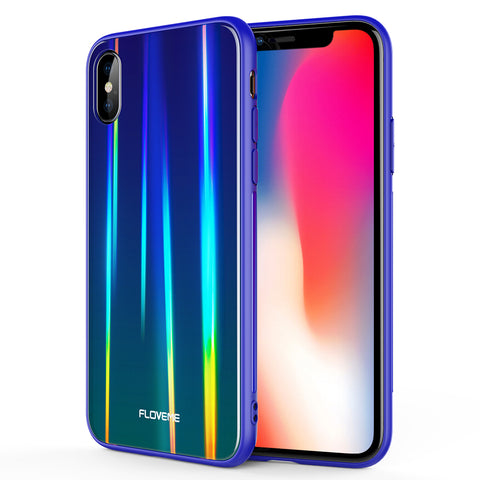 Aurora Tempered Glass Case For iPhone XS - FLOVEME