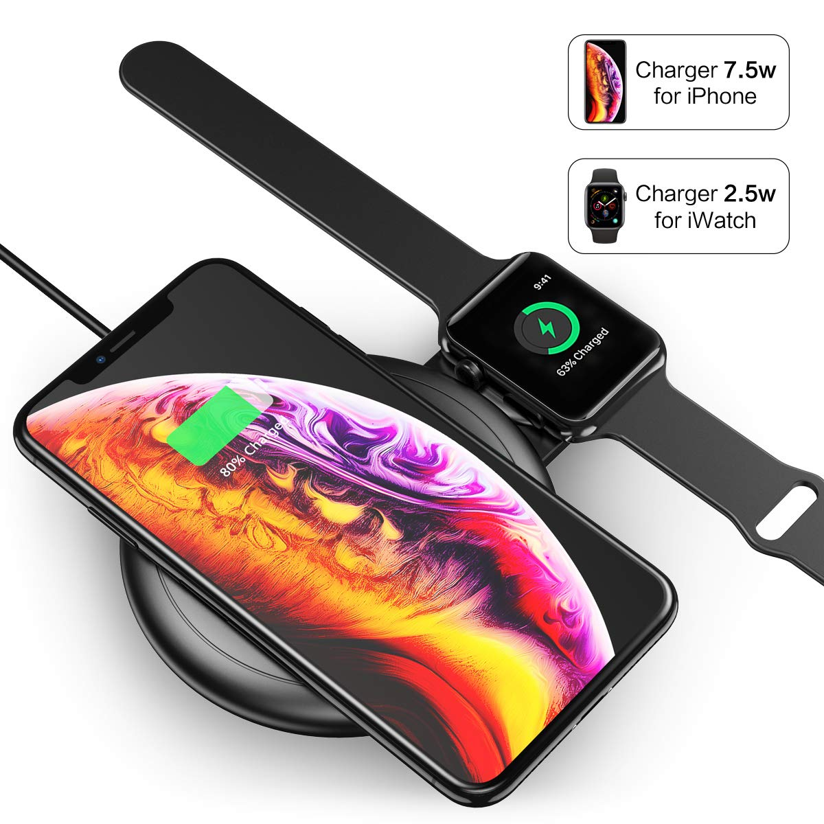 los angeles 2682d b4048 2 in 1 10W Qi Fast Wireless Charger for iWatch for iPhone Xs Max/XR/X/8  Plus/8 Samsung Note 9/8 and More