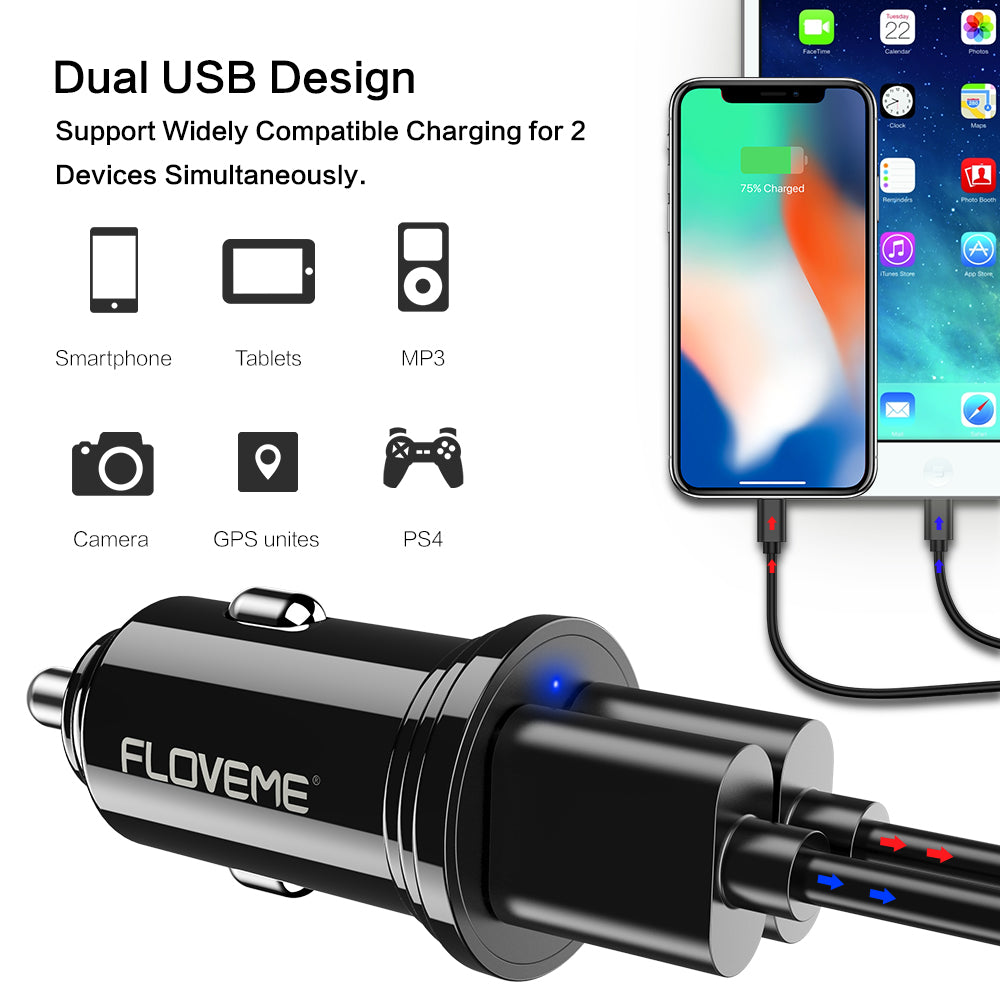 Plastic Mini Car Charger - FLOVEME