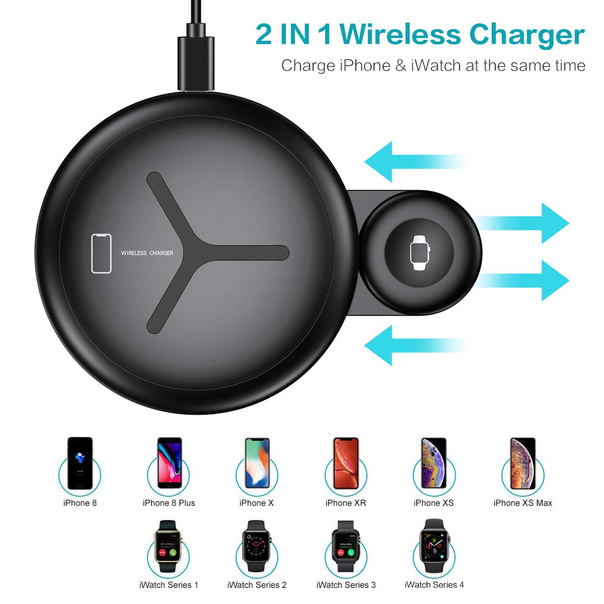 2 in 1 10W Qi Fast Wireless Charger for iWatch for iPhone Xs Max/XR/X/8 Plus/8 Samsung Note 9/8 and More - FLOVEME