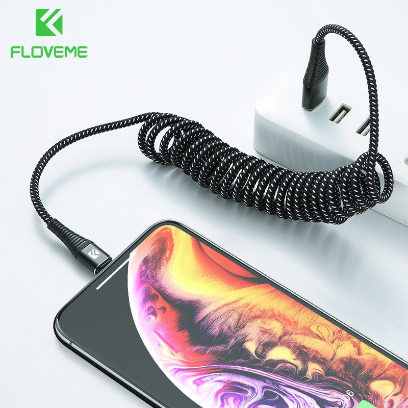 FLOVEME USB Cable For iPhone XR XS MAX X Spring 2A Fast Charger For iPhone X Lighting Cable Charging Data Sync Nylon Phone Cable - FLOVEME