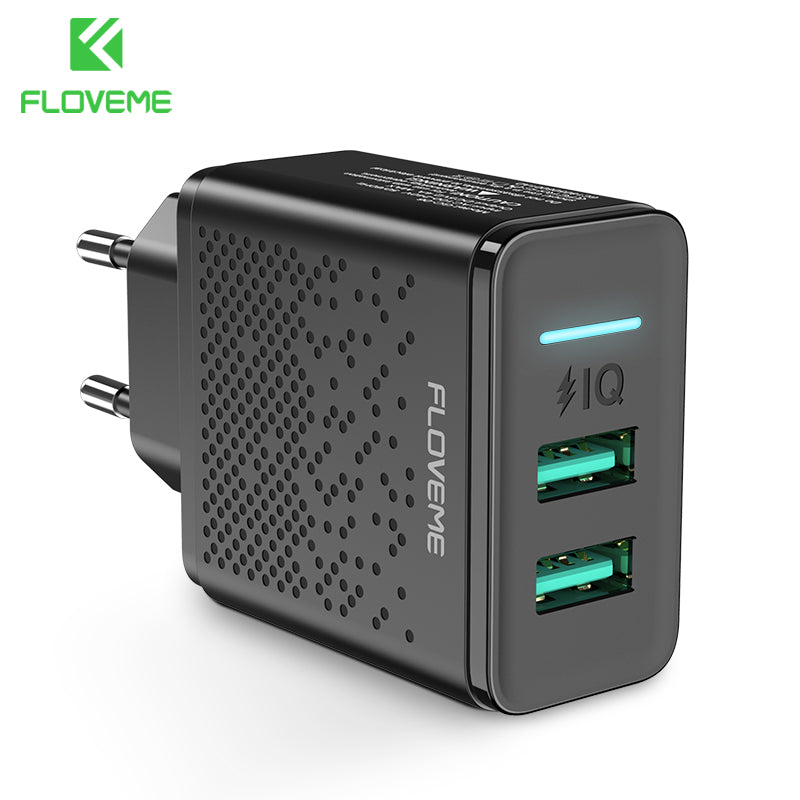 FLOVEME Dual USB Charger 5V 2.4A Fast Charging Wall Charger Adapter EU Plug Mobile Phone For iphone ipad mini Samsung Xiaomi - FLOVEME