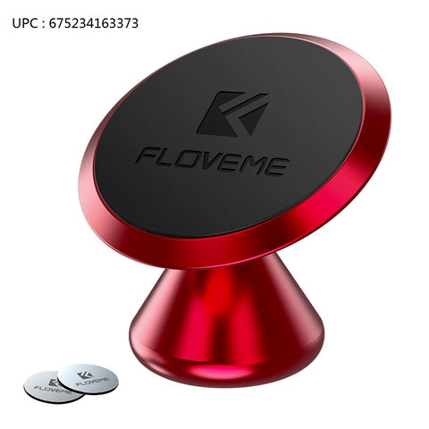 Magnetic Phone Car Mount Adhesive - FLOVEME 360° Rotate Magnet Cell Phone Holder for Car Panel Dashboard Hands Free Magnetic Phone Mount Compatible for iPhone SAMSUNG and Most Mobile Phones (Red) - FLOVEME