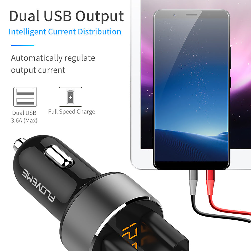 Dual USB Car Charger with Voltage Monitor - FLOVEME