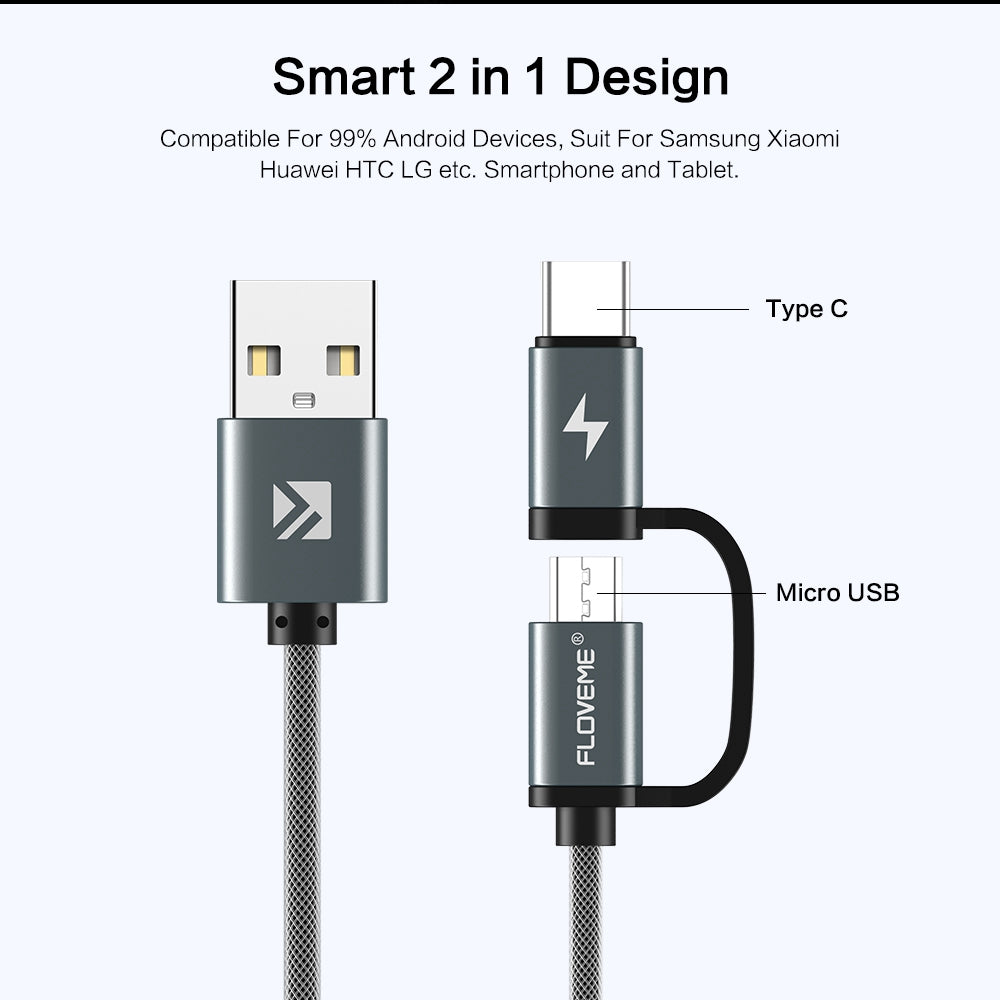 2 in 1 Type-C and Micro USB Charging Cable Grey - FLOVEME