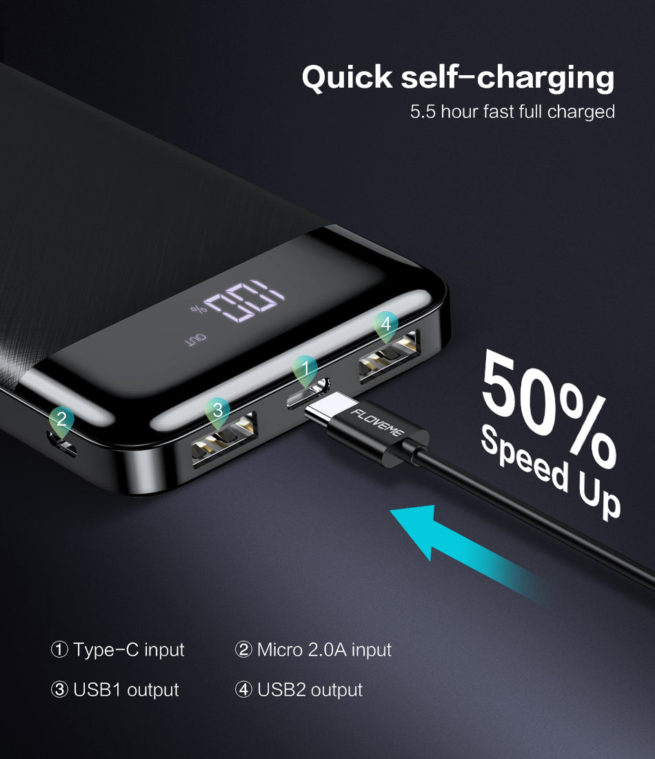 FLOVEME Power Bank 10000mah External Battery Backup Pack quick Charge Powerbank 10000 Mah Dual usb charger For iphone Xiaomi mi - FLOVEME
