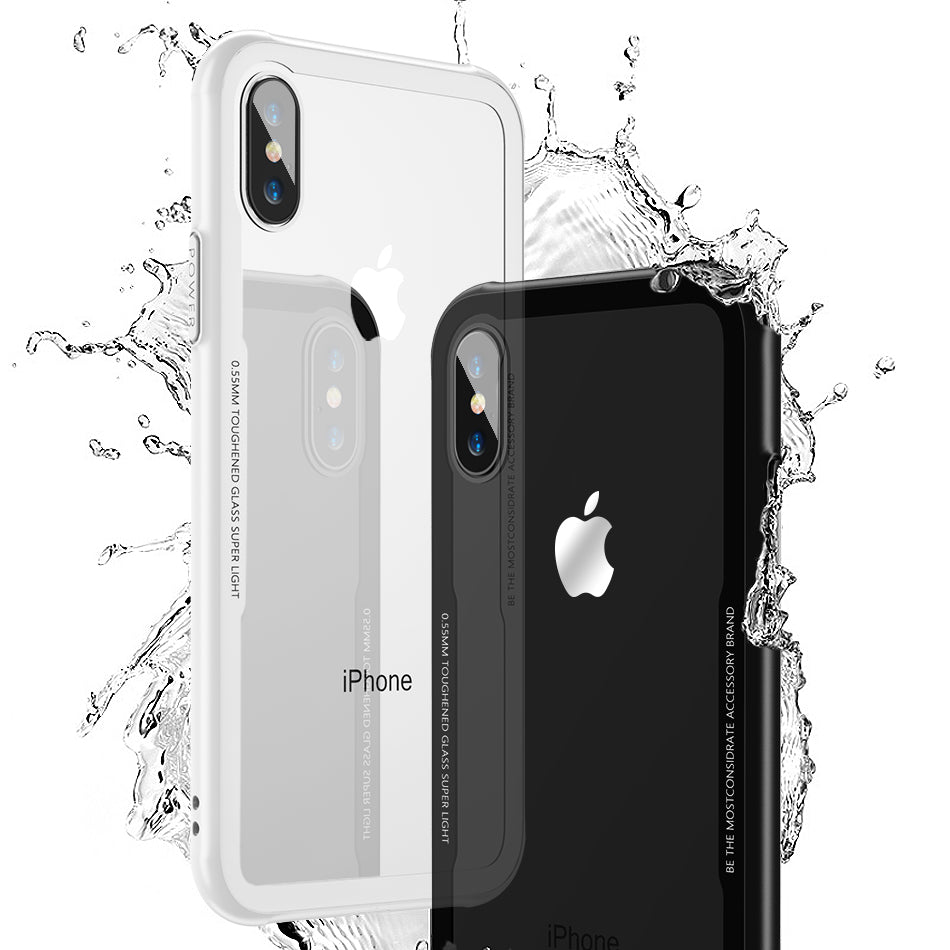 Ultra Thin Transparent Glass Cover For iPhone X XS - FLOVEME