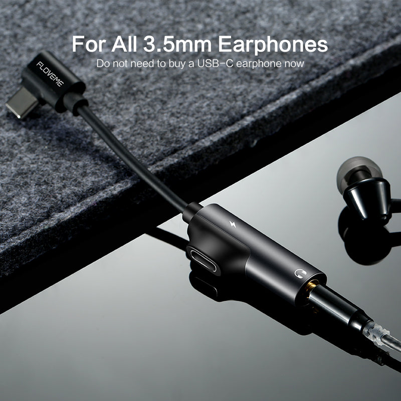 2 in 1 USB Type C to 3.5mm Headphone Jack Adapter - FLOVEME