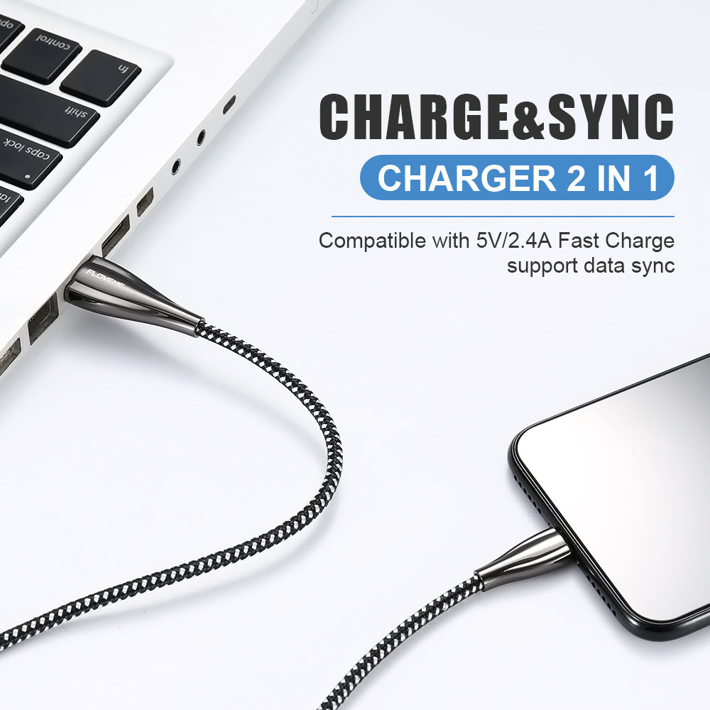 Zinc Alloy Fast Charging Data Cable For iPhone - FLOVEME