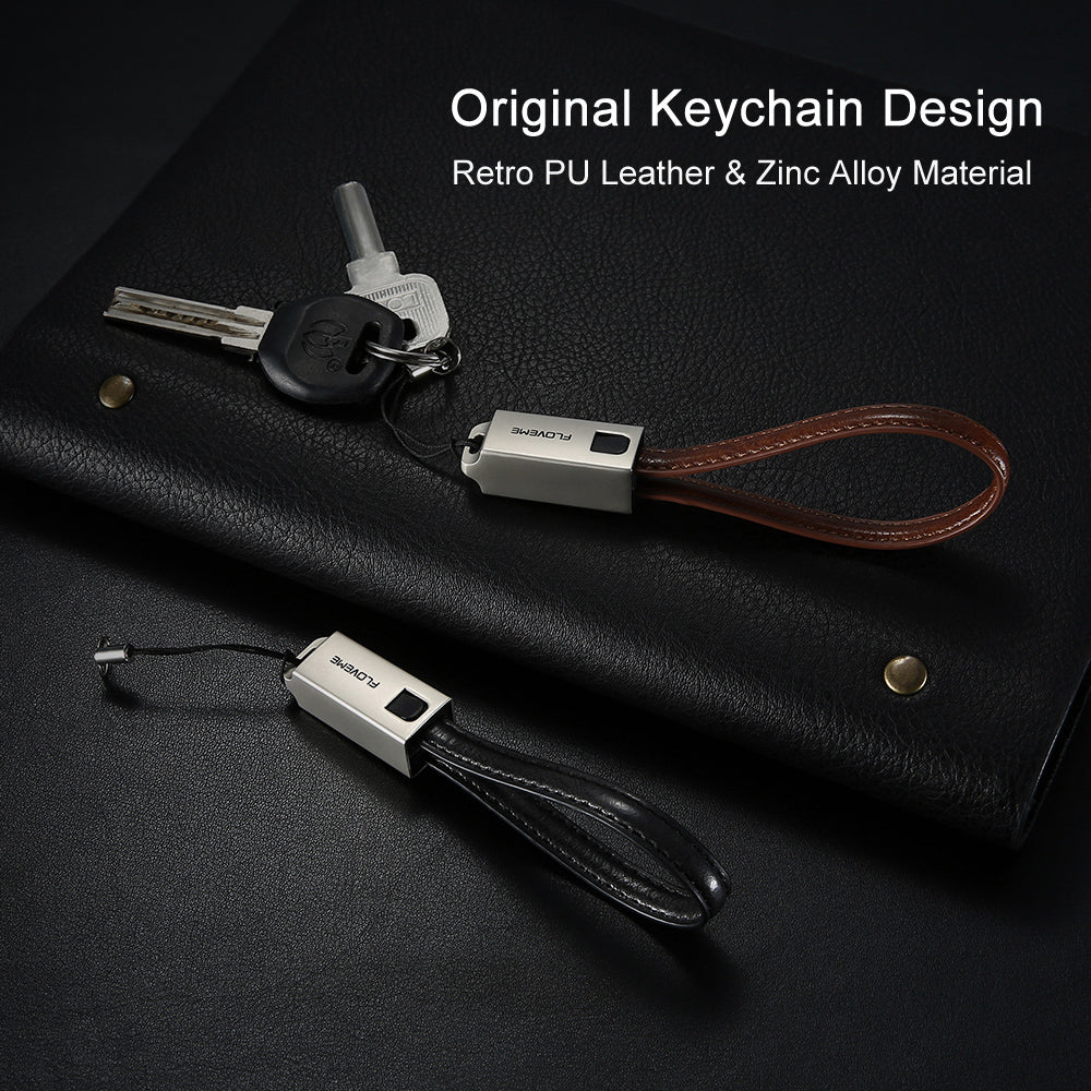 FLOVEME USB Cable For iPhone 6 6S Plus 5 5S SE PU Leather Keychain Charging Cable For iPhone 7 8 Plus X 10 For iPad Charger Cabo - FLOVEME