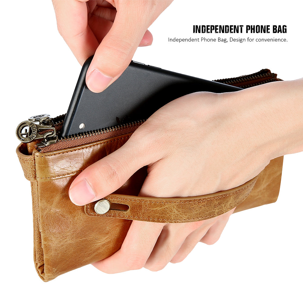 Real Leather Phone Bag with Double Zipper - FLOVEME