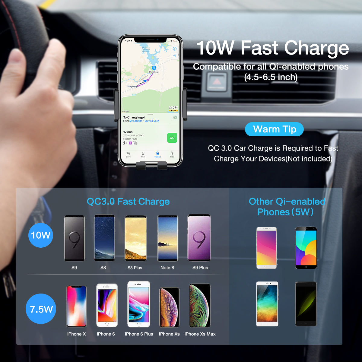 2 in 1 Qi Wireless Car Charger Touch Sensitive - FLOVEME